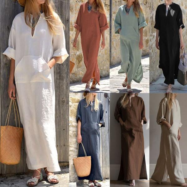 923966008f4 Celmia Women Vintage Linen Dress 2018 Summer Autumn Sexy Deep V Neck Long  Sleeve Split Long Maxi Dress Kaftan Plus Size