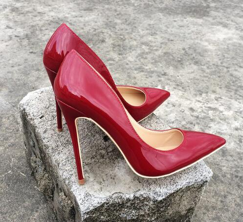 Chile Red Women Patent Leather Basic High Heels Pointed Toe Sexy Pumps Elegant Ladies Burgundy Evening Dress Shoes high 8cm 10cm 12cm