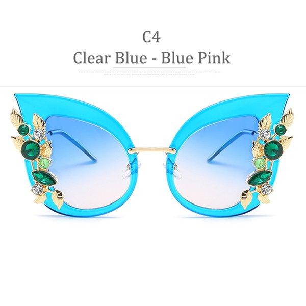 C4 Clear Blue Frame Blue Pink