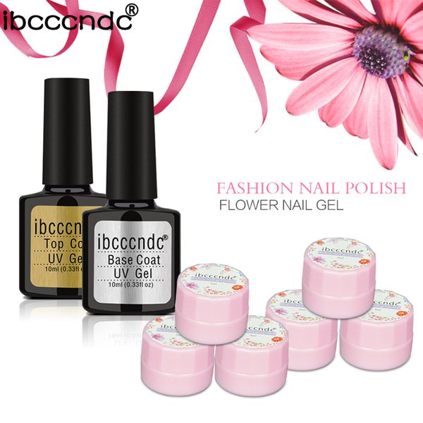 New Nail Art Set 3ml Dried Flowers Gel Nail Polish Base And Top Coat ...