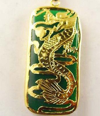 Wholesale Emerald Green Jade Dragon Long Yellow Gold Plated Pendant & Necklace