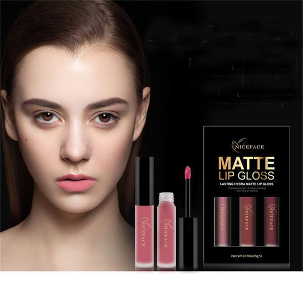 NICEFACE Brand 3 Colors/Set Liquid Lipsticks Make Up Pigments Sexy Red Purple Velvet Matte Lip Gloss Makeup Kit Wholesale 1224051