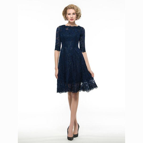 En iyi Satış Lacivert A-Line Scoop Illusion Yarım Kollu Dantel anne Gelin Elbiseler Diz Boyu Seksi Geri anneler Elbiseler