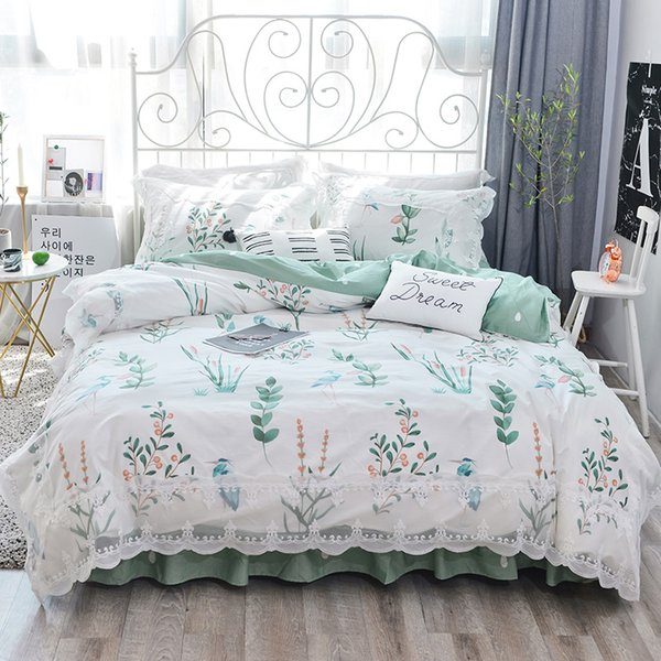 100%Cotton lace Bedding set King queen Twin size Bed set Princess Korean Girls White Pink Bed skirt Pillowcase