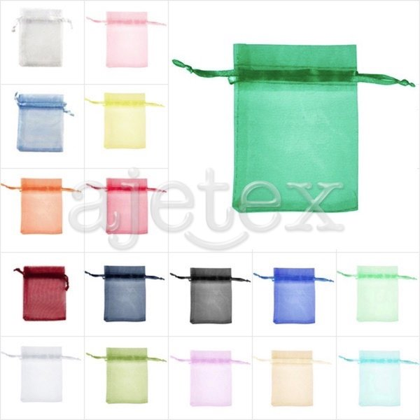 25pcs Solid Organza Rectangle Pouch Bags Gift Wedding Jewellery Reception Party Sweets Favours 13x18cm 25 Color Choose BB0014