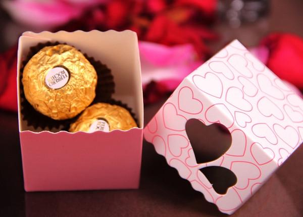 Aşk Kalp Mor Pembe Küçük Lazer Kesim Şeker Çanta Düğün Parti Lehine Hediye Şeker Kutuları Şerit Casamento Olay Süslemeleri