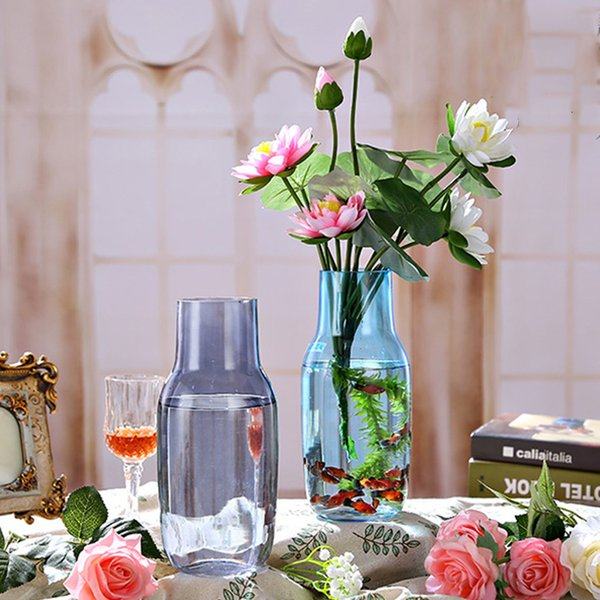 Creative Contracted Transparent Colorful Glass Vase Flower Vase Terrarium  Plants Flower Hydroponic DIY Bottle Home Decor Glass Wall Vases For Flowers  ...