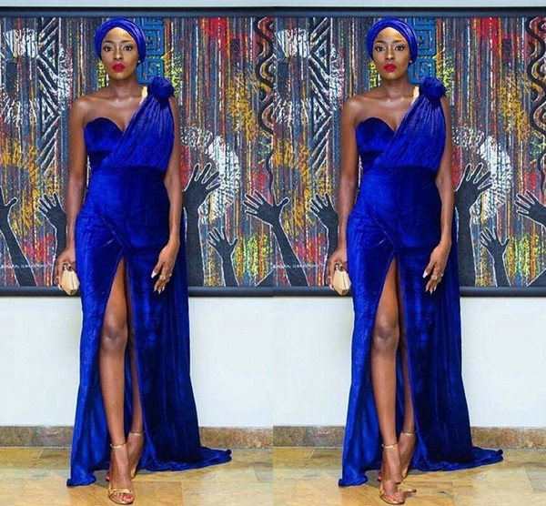 top popular Royal blue 2019 Elegant One Shoulder Velvet Mermaid Nigeria Evening Dresses Sexy handmade flower Front split Arabic formal Prom Dress Custom 2020
