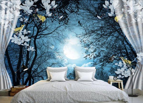 Custom 3d Photo Mural Wallpaper Moon night TV Backdrop papel de parede 3D Wallpaper For Living room Wall Papers Home Decor