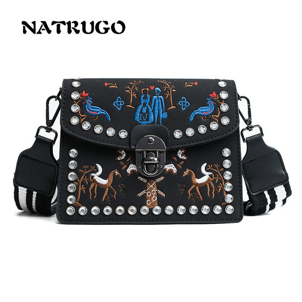 2ae44e5e8c2a Women Messenger Bag Embroideried Flower Handbag Ladies Small Rivets  Crossbody Bags Women Famous Brands Designers Shoulder Bags