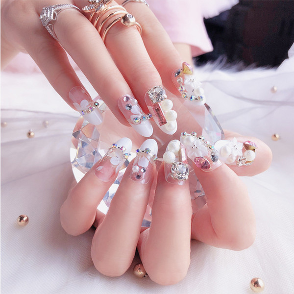 24pcs/Set Pretty Pink Rhinestone Bride Nail Art Tips Pre-Design Round Head French False Nails Faux Ongles with Glue Sticker