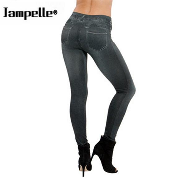 Falsos bolsillos de las mujeres Denim Jeans Seamless Sexy Flaco Leggings Stretchy Slim Pants Moda elástico Color sólido Leggings Damas