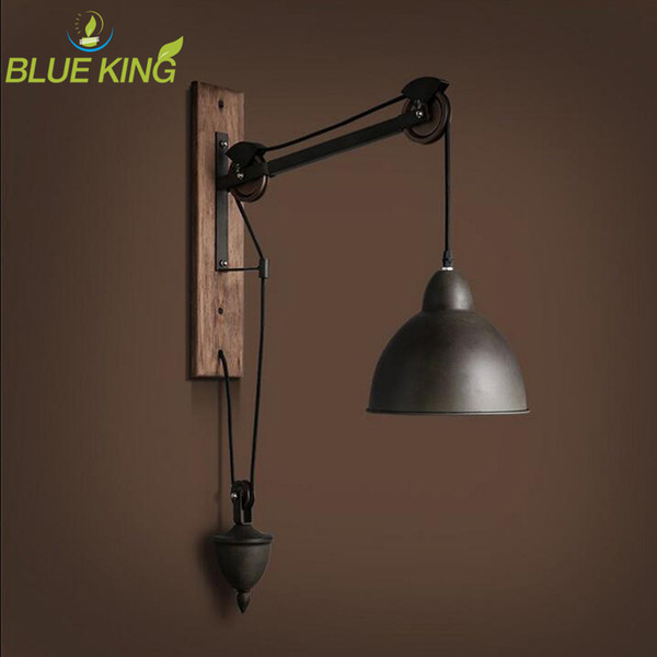 Loft Pulley wall Lamp Bar adjustable Retro industrial vintage wall sconce lighting with wooden wall mount