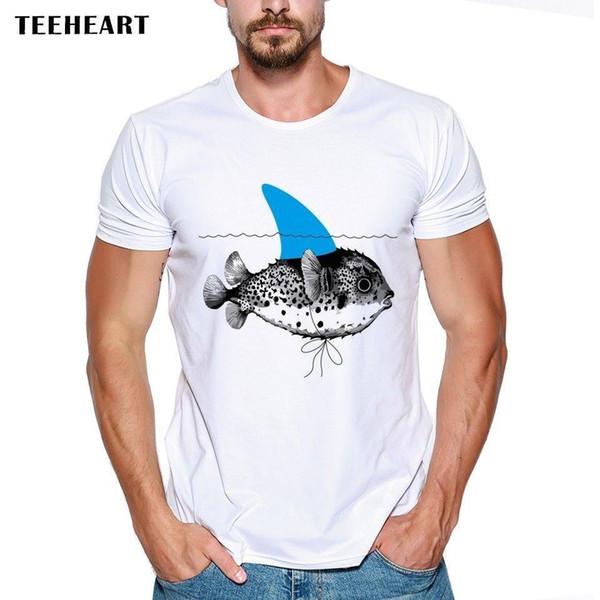 Fische Schwimmen Wasser Tiere Haifischflosse Nettes lustigen Witz Männer-T-Shirt T-Stück