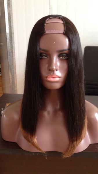 Parrucca per capelli umani a due toni T1b 30 Ombre U Parte centrale sinistra sinistra Brasiliana Capelli vergini 8-24 pollici