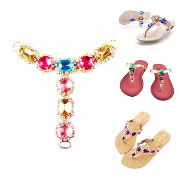 2 Piece Rhinestones Chain Shoe Decoration Women High Heel Shoes Accessories Fashion Female Sandals Slippers Shoe Decorations