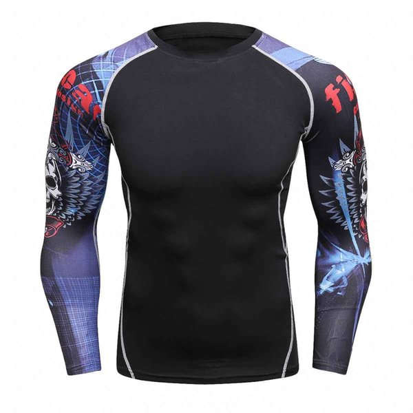 Camicie a compressione MMA Rashguard Keep Fit Fitness maniche lunghe Strato base Stretto Skin Sollevamento pesi Elasticizzato Mens T-Shirt