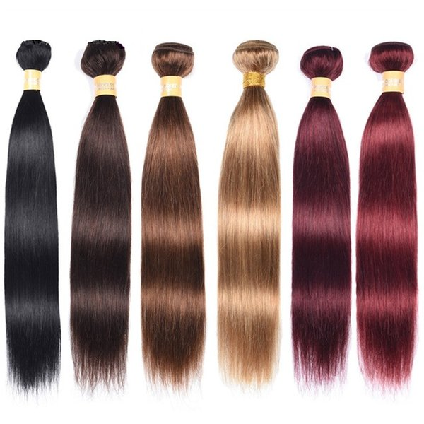 Pre-Colored Malaysian Virign Hiar Bundles Straight Remy Human Hair Extensions 3 Pcs Deal #1/#2/#4/Red/99J/Bloned Human Hair Weft