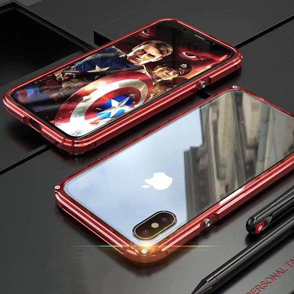 Luxury Metal Bumper For iPhone XS MAX Case Mechanical Aluminum Metal Bumper + Acrylic Case For iPhone X XS XS MAX XR Back Cover