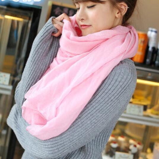 Luxury Brand Scarf for Women Spring Summer Solid Linen And Cotton Fashion Female Beach Multi-purpose Shawl