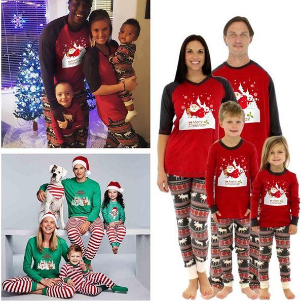 Next Christmas Pyjamas 2019.2019 Xmas Kids Adult Family Pajamas Set Christmas Deer Elk Sleepwear Moose Fairy Striped Nightwear Autumn Bedgown Cotton Pyjama Outfit 2018 From