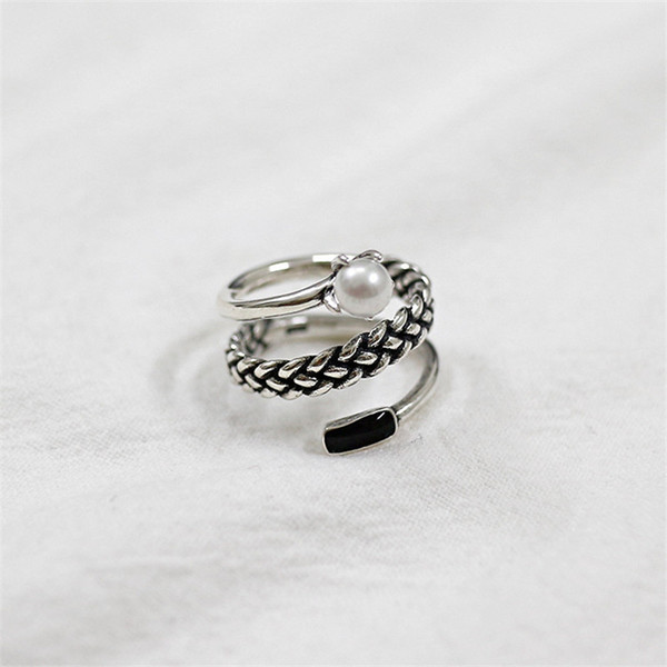Pure 925 Sterling Silver 3 layers Open Size Rings Vintage Spiral Ring Freshwater Pearl Multi Layer Ring For Women