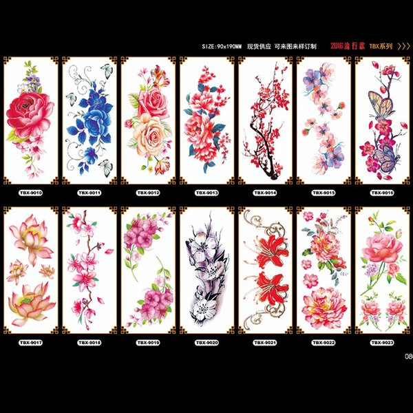 bright color temporary tattoo sticker for women rose wintersweet bluelover lotus flower patterns tatuagem girl fake tattoos