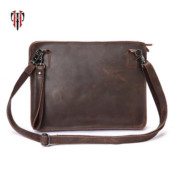 TIANHOO clip man bags genuine leather bag shoulder messenger crazy horse leather briefcase for work casual mens setchels