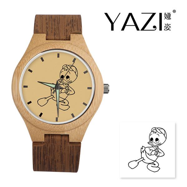 YAZI DIY Wooden Watch Duck Lucky Logo Quartz Watches Natural Bamboo Wood Case Wrist Watches Wood Stripe Band Memory Gift