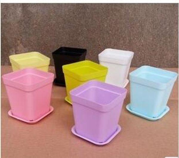 1200sets Mini Flower Pots With Chassis Colorful Plastic Nursery Pots Flower Planter For Gerden Decoration Home Office Desk Planting
