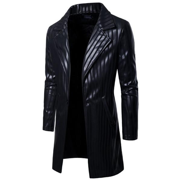Fashion Men's Stripe PU Leather Long Style Jacket Men Casual Black Motorcycle Leather Slim Jacket Coats For 2018 Autumn Winter
