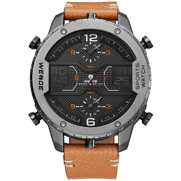 Luxury brand WEIDE-WH6401 men's large dial military outdoor sports waterproof watch leather strap multi-function quartz watch Original watch