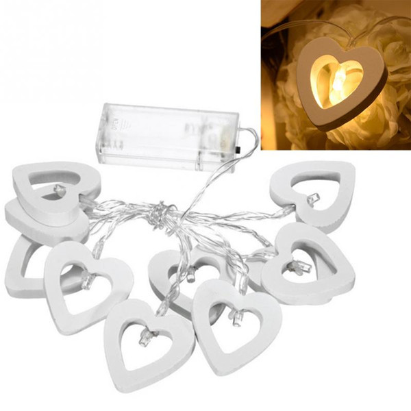 1.2m LED string lights switch Control warm white, white wooden heart shape LED string for home use or festival decoration