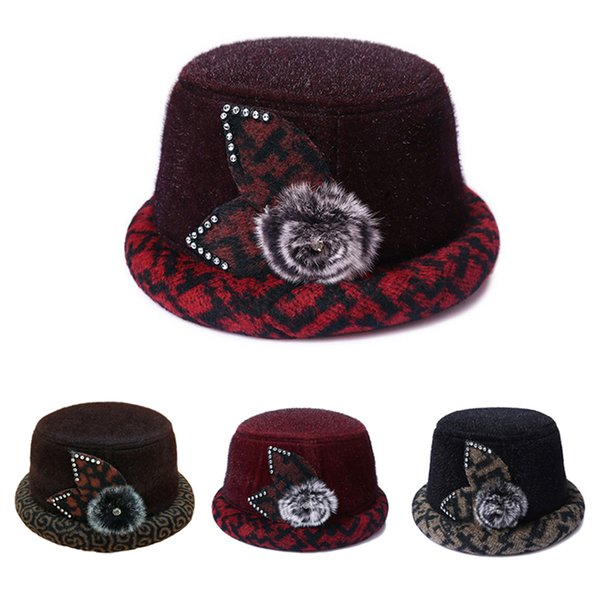 Fashion Winter Outdoor Caps Top Small Hats Women Classic Vintage Jazz Warm Ladies Fedoras Bucket Casual Cotton Solid Sweet
