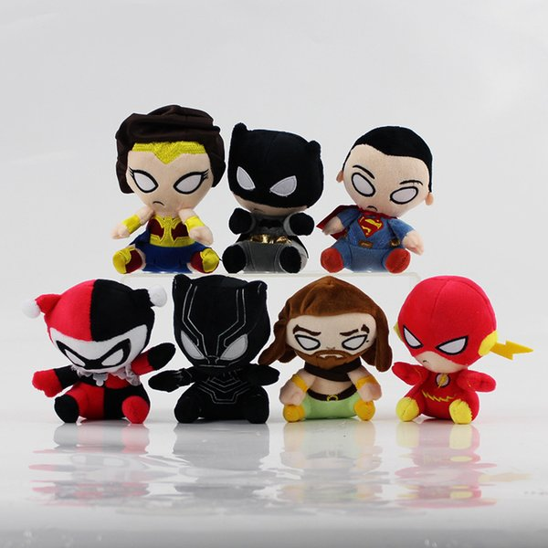 """Hot Sale 7 Style 4.5"""" 12cm The Avengers Superman Black Panther Wonder Woman Plush Doll Stuffed Toy For Gifts"""