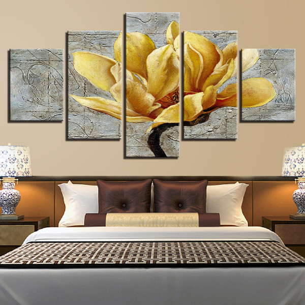 Toile HD Prints Pictures Home Decor Framework 5 Pièces d'or Jaune Fleurs Peintures Or Orchidées Affiches Salon Mur Art