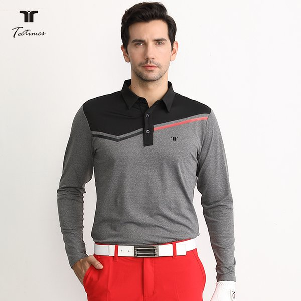 Golf T-shirts Men Long sleeve Sportswear Breathable Qucik-dry Golf Clothes S-XXL in Choice Leisure Lapel Shirt