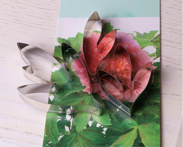 Wholesale-Wholesale New!Stainless steel Peony leaves fondant cake cutter 3 pieces/set 10 sets