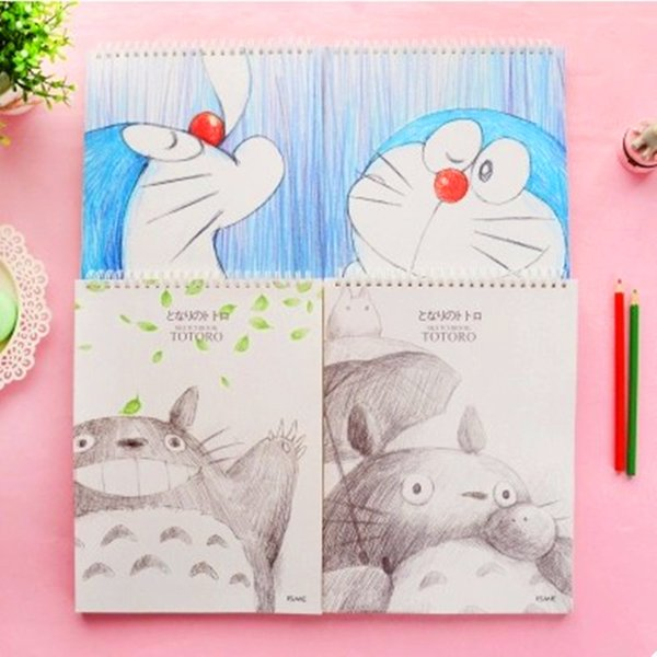 new cute Cartoon Notebook caderno livros Planner Stationery School Supplies book doraemon material escolar sketchbook totoro