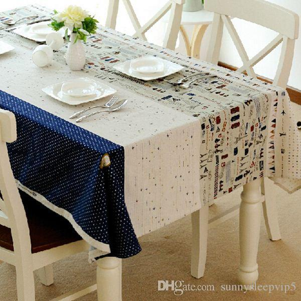 Toalhas Linen Table Cloth Covers Mediterranean style Towel Print Dustproof Rectangular Dinning Tablecloths Free Shipping ZB-6