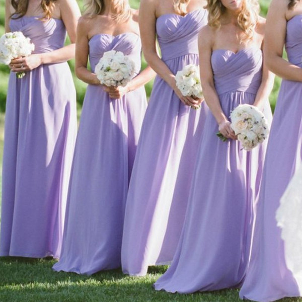 Long Lavender Ruched Bridesmaid Dresses Simple Strapless Sweetheart A Line Chiffon Bridesmaid Dress Summer Beach Wedding Guest Dresses