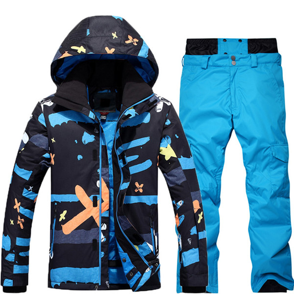 -30 For Men 2018 new styleSki Suit Set Snowboard Suit Garment Waterproof Breathable Winter Winter Jacket + Trousers
