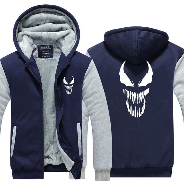Spider Man Venom Cashmere Hoodie New Winter Thicken fleece Cotton Zipper Casual Coat Jacket Super Warm Sweatshirt USA EU Size Plus Size