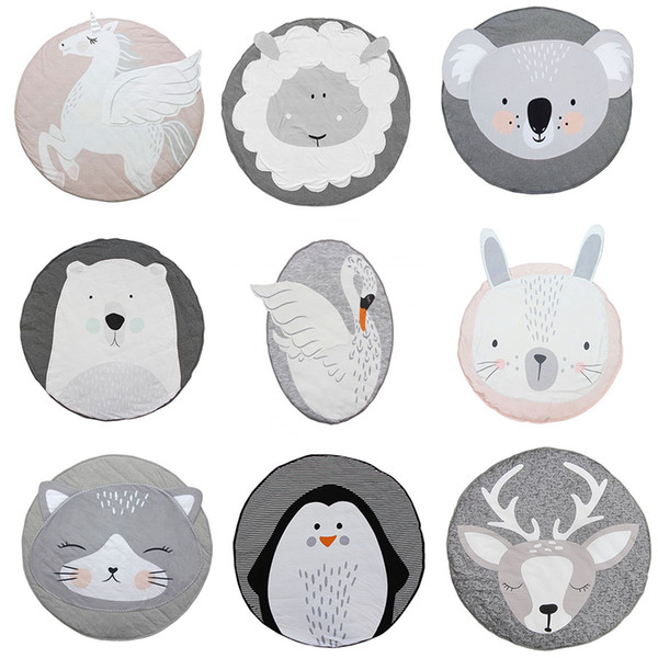 ins baby creeping mats fox deer unicorn rabbit lion swan play game mat decorative crawling blanket kids room floor carpet 13 styles c4439