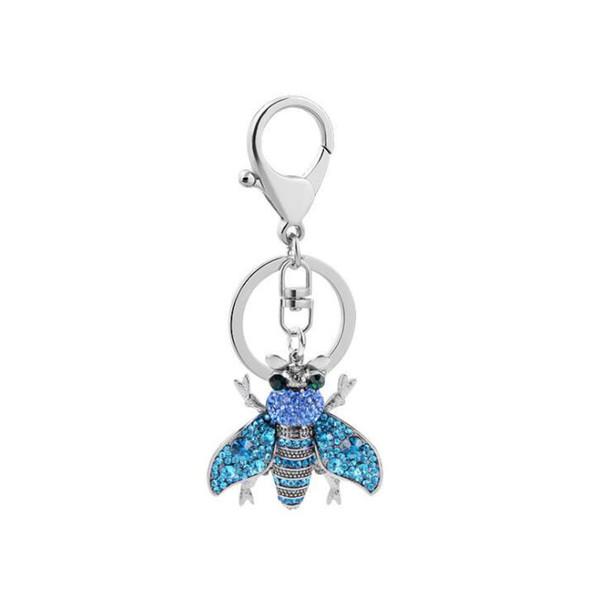 Nuevo Crystal Rhinestone Honey Bee Llavero Llaveros sostenedor del coche Mujeres Niñas Bolsa Accesorios regalo de Navidad regalo de boda