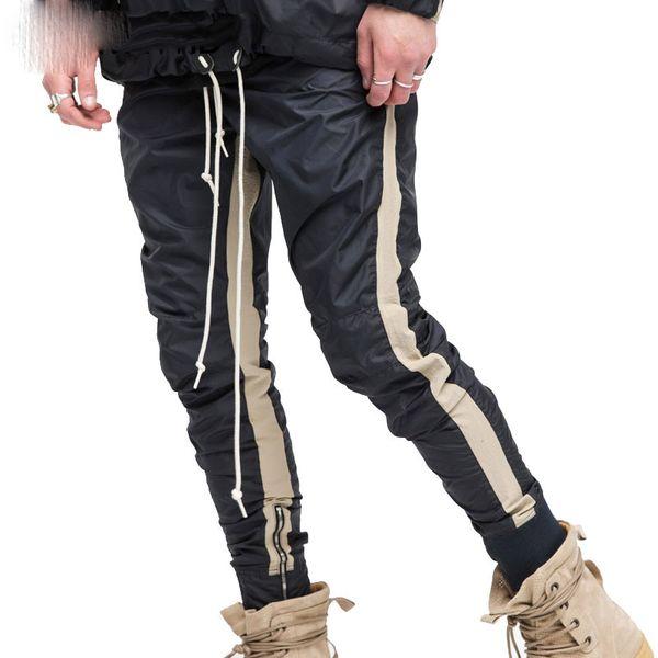 Zipped Ankle Track Pants Mens Fashion Urban Jumpsuit Joggers Trousers Male Hip Hop Stripe Sweatpants High Quality