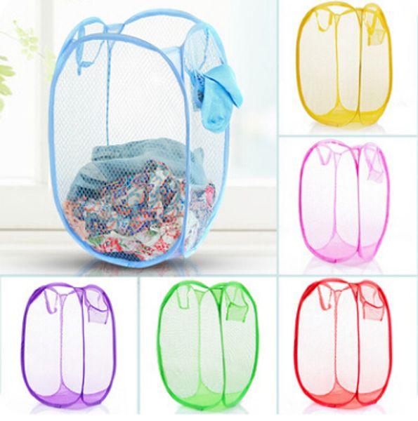 Laundry Storage Basket Bag Folding Mesh Washing Dirty Clothes Storage Baskets Foldable Breathable Pop Up Clothing Barrel Toy Shoes Organizer