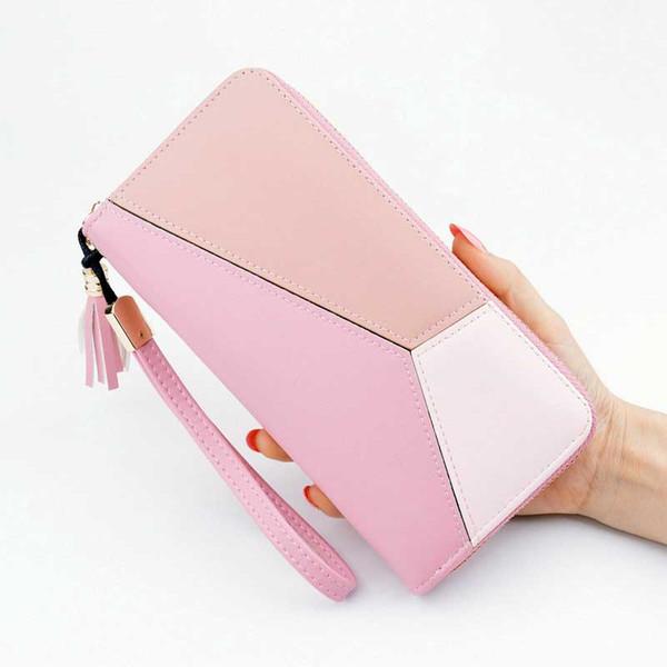 Geometric Women Long Wallets PU Leather Wallet Female Patchwork Clutch Card Holder Girl Coin Purse Zipper Cell Phone Pocket