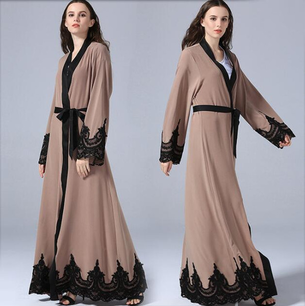 Casual Muslim Abaya Embroidery Lace Dress Cardigan Islamic Thobe Clothing Middle East Long Robe Gowns Kimono Jubah Loose Style Pink Dresses Fashion