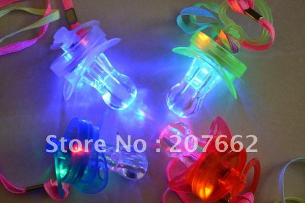 Free Shipping 24PCS/lot LED Flashing Whistle LED flashing pacifier buery nipple pacifier Flashing Lanyard for party supplies